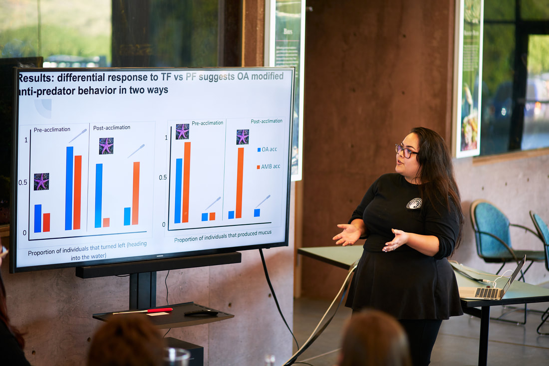 Lena presenting her research at the End of the Summer Banquet. PC: Gabriel Ng