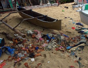 CAMEOS in Indonesia - outrigger and debris