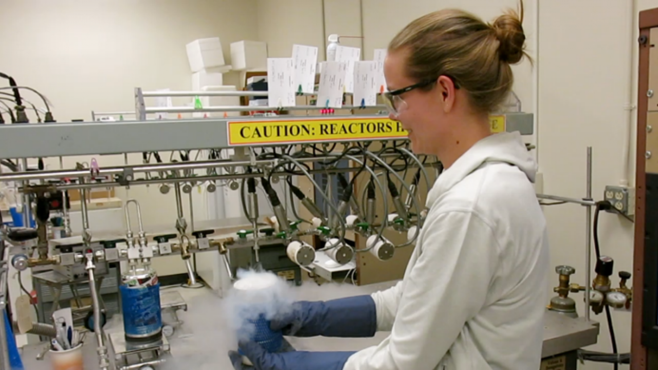 Lindsay Rodgers, using cryogenic distillation to remove water molecules from carbon dioxide in a vacuum line at the Lawrence Livermore National Laboratory. PC: Carina Fish